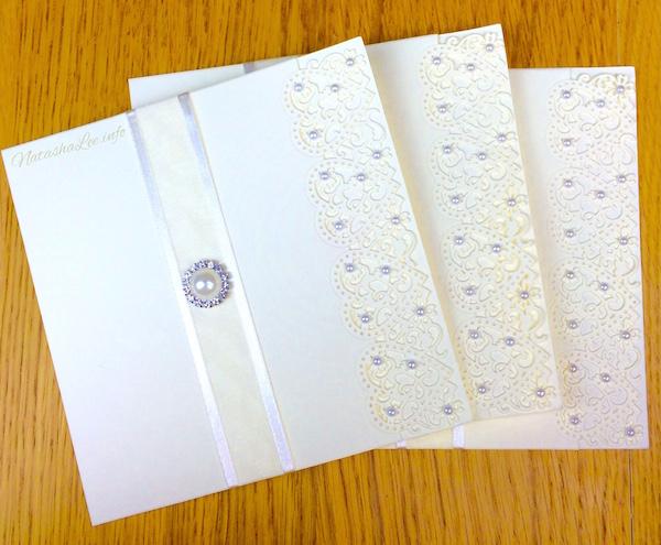 Vintage heart lace pearl wedding invitations