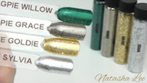 Nail art glitter silver gold taupe teal