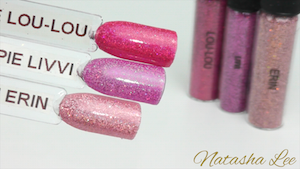Pink Holographic glitter nail art