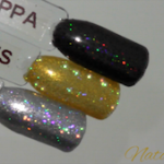 magpie glitter nail art holographic silver gold brown