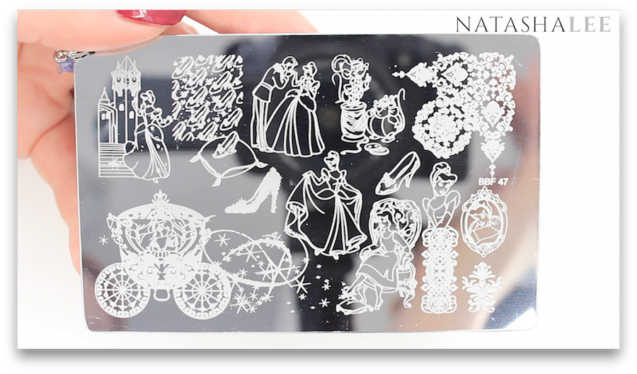 Cinderella Coach Glass Slipper Nail Art Stamping Plate