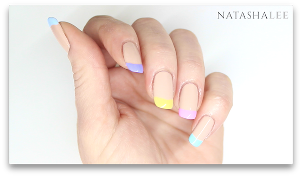 Pastel french tip nail art