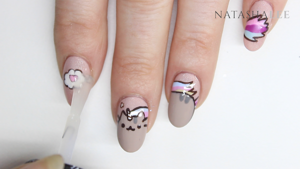 pusheen cat nail art nails