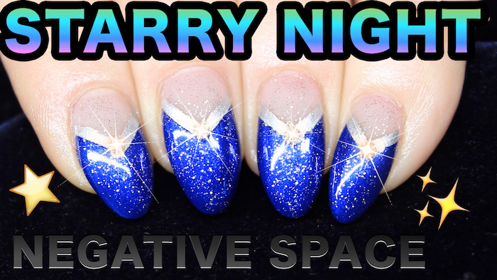 Negative Space Nail Art With Glitter Crystals Natasha Lee