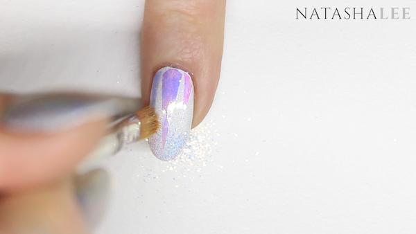 white glitter nail art