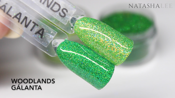 nail art glitter green holo swatch