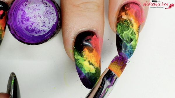 rainbow neon smoke nails