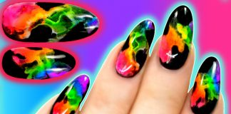 Neon Rainbow Smoke Nails