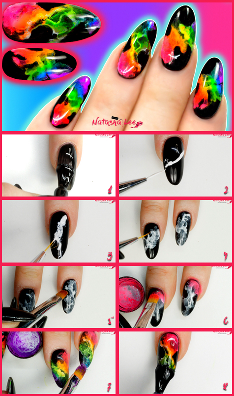 Neon Smoke Rainbow Nails Step By Step