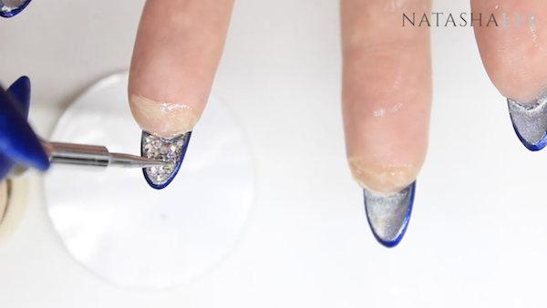blue silver and diamond nails