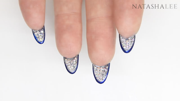 matte dark blue nails with diamonds