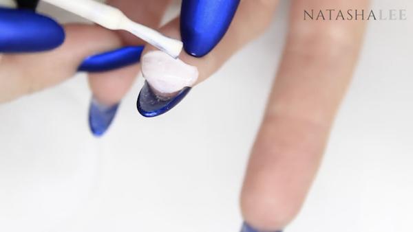 matte blue nails with diamonds