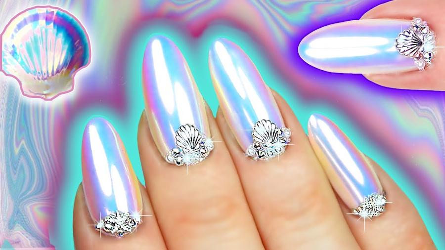 WHITE CHROME NAILS - Iridescent Opal Nail Art - Natasha Lee