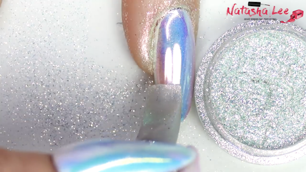 White Chrome Nails Iridescent Opal Nail Art Natasha Lee