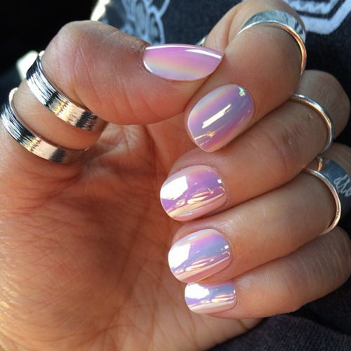 Opal Iridescent Nails